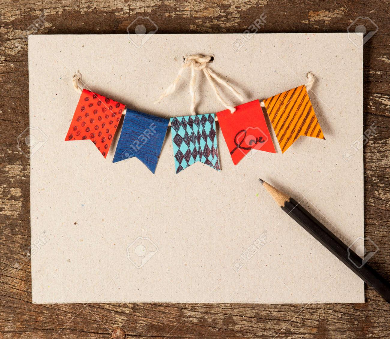 Carte Anniversaire Des Guirlandes De Cru De Fete Avec Des Drapeaux D Ange Aux Couleurs D Automne Banque D Images Et Photos Libres De Droits Image 32153801