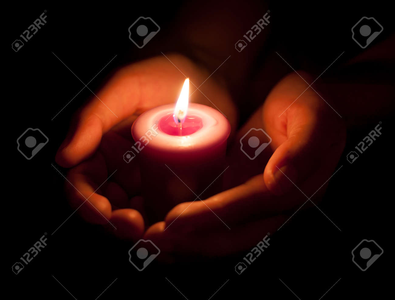 Hand Holding A Burning Candle In Dark Stock Photo, Picture And ... for Holding Candle In The Dark  59nar