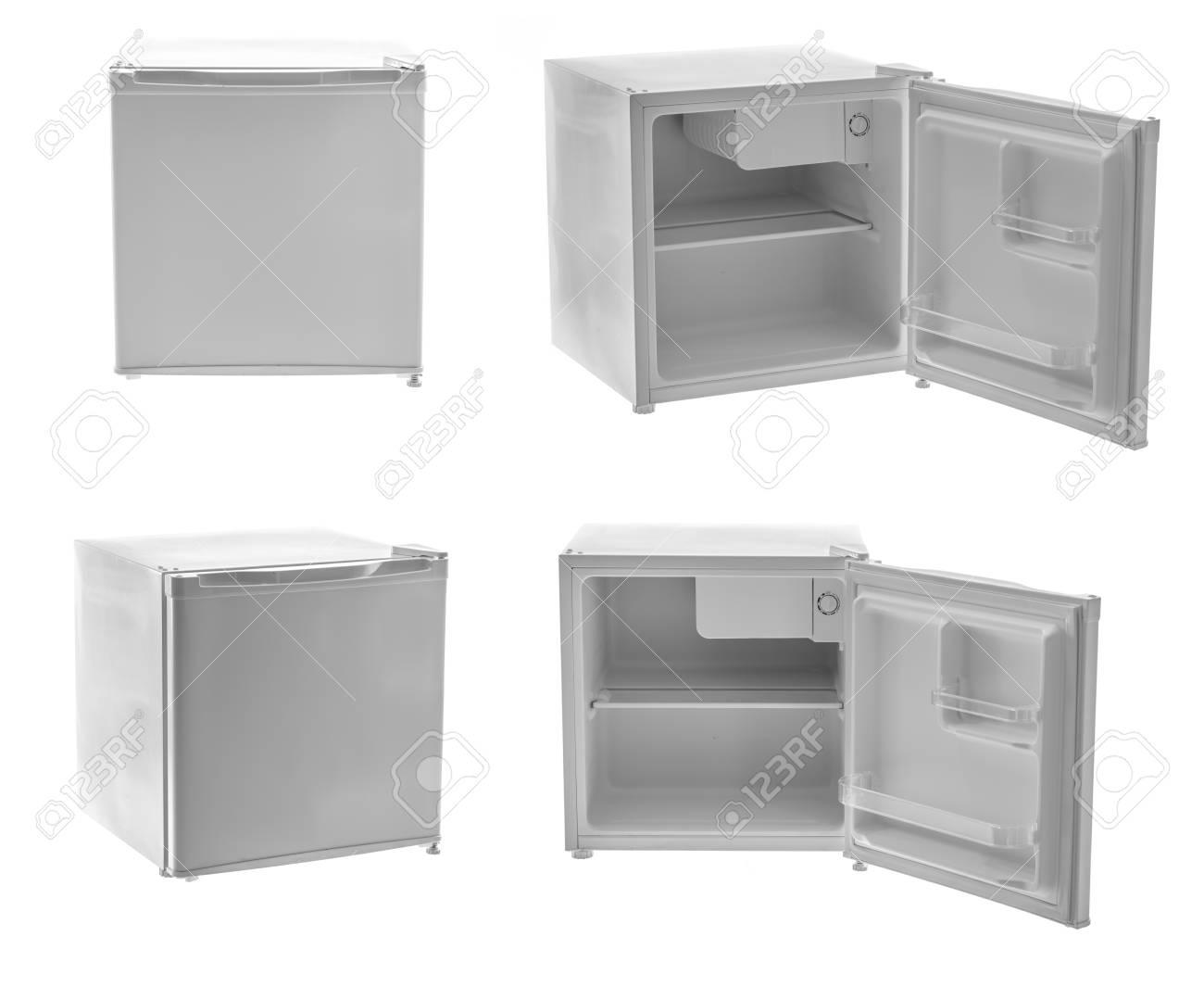 Designer Mini Kühlschrank : Leere mini kühlschrank auf weißem hintergrund lizenzfreie fotos