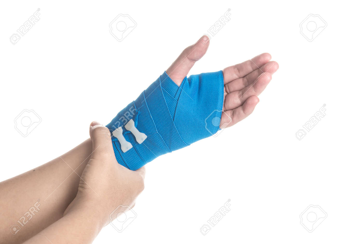 Hand Wrapped In Elastic Bandage On White Background Hand Pain