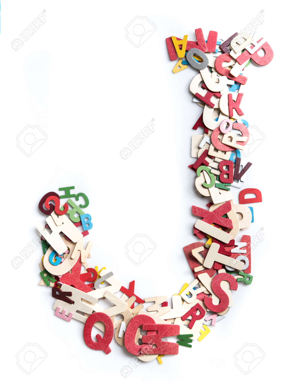 Colorful wood alphabet letters on white background,letter J - 115241585