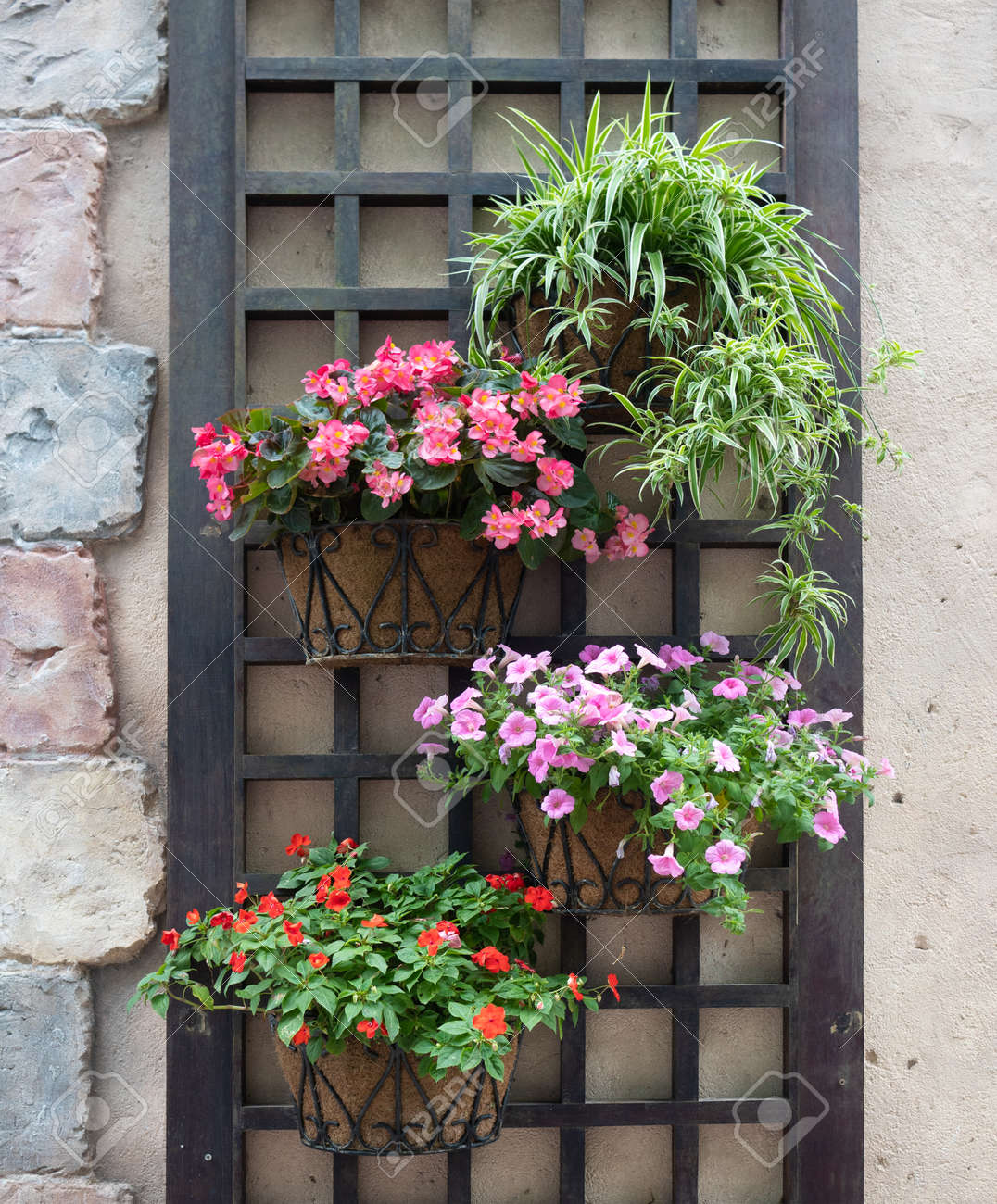 colourful flower pots hanging on a wall - 121845765