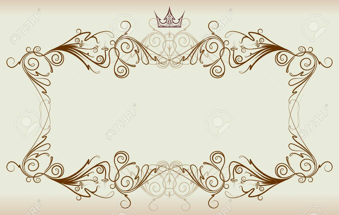 vector vintage frame with crown