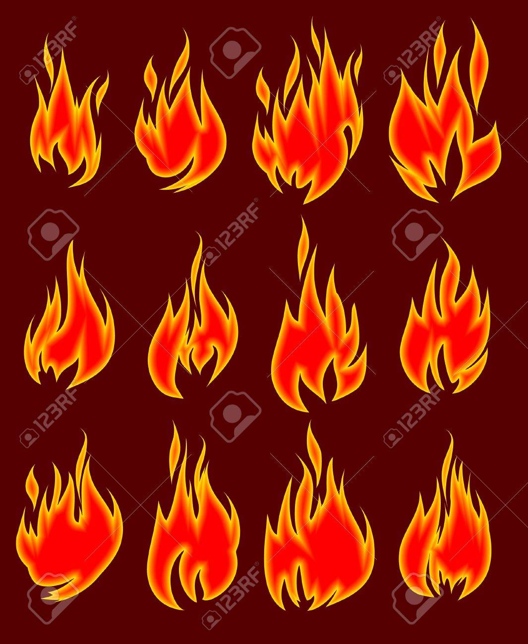 Collection of vector fires. Stock Vector - 10708742
