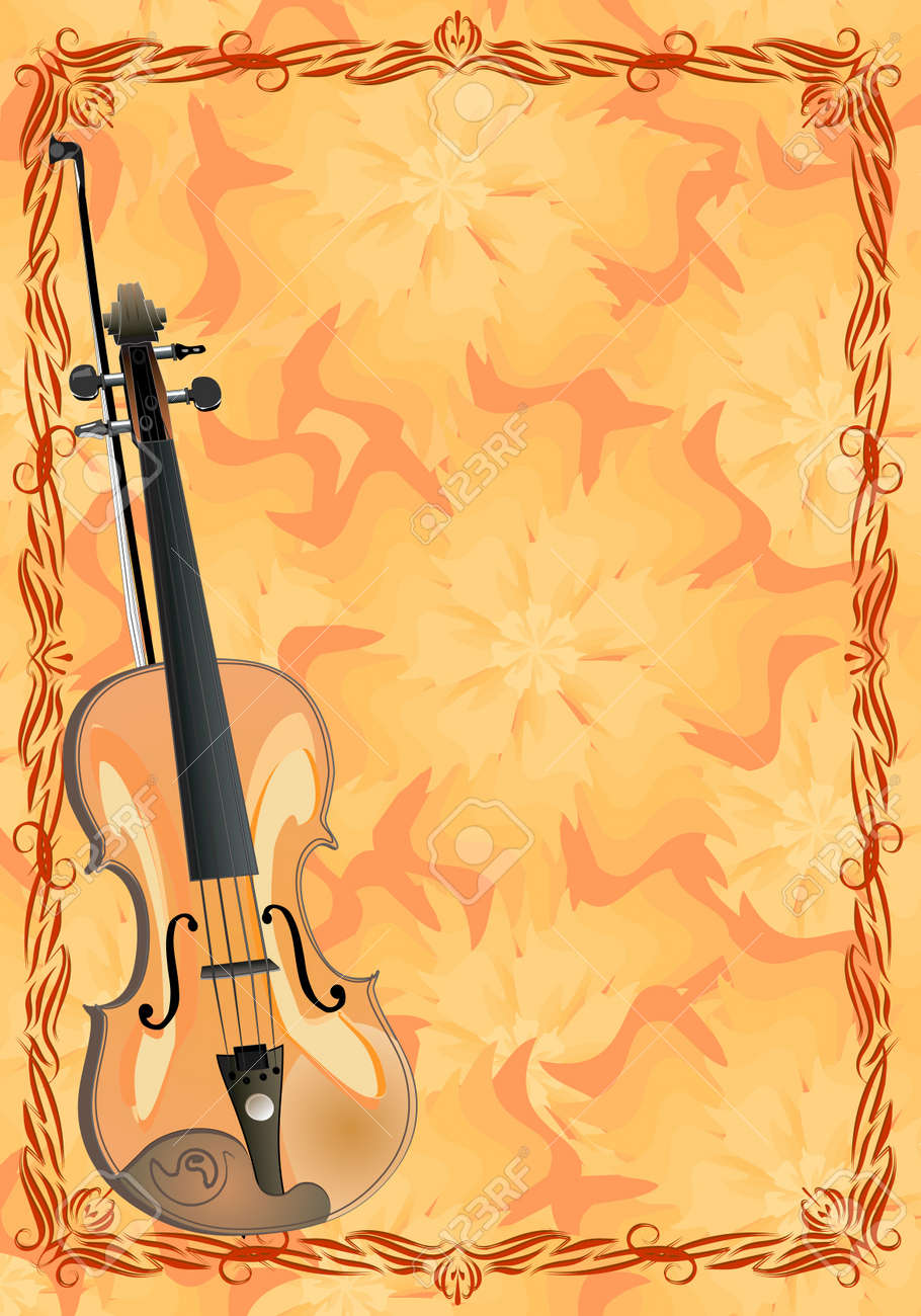 viola on floral background Stock Vector - 10707359