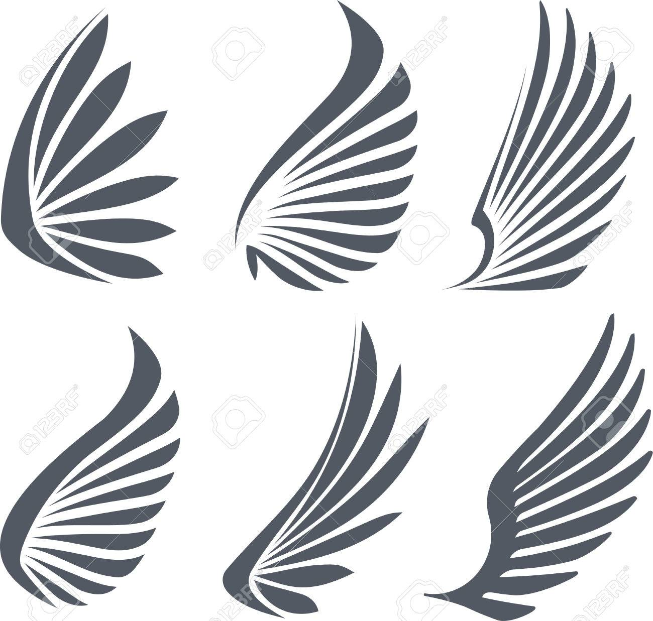 set of 6 vector wings stock photo picture and royalty free image