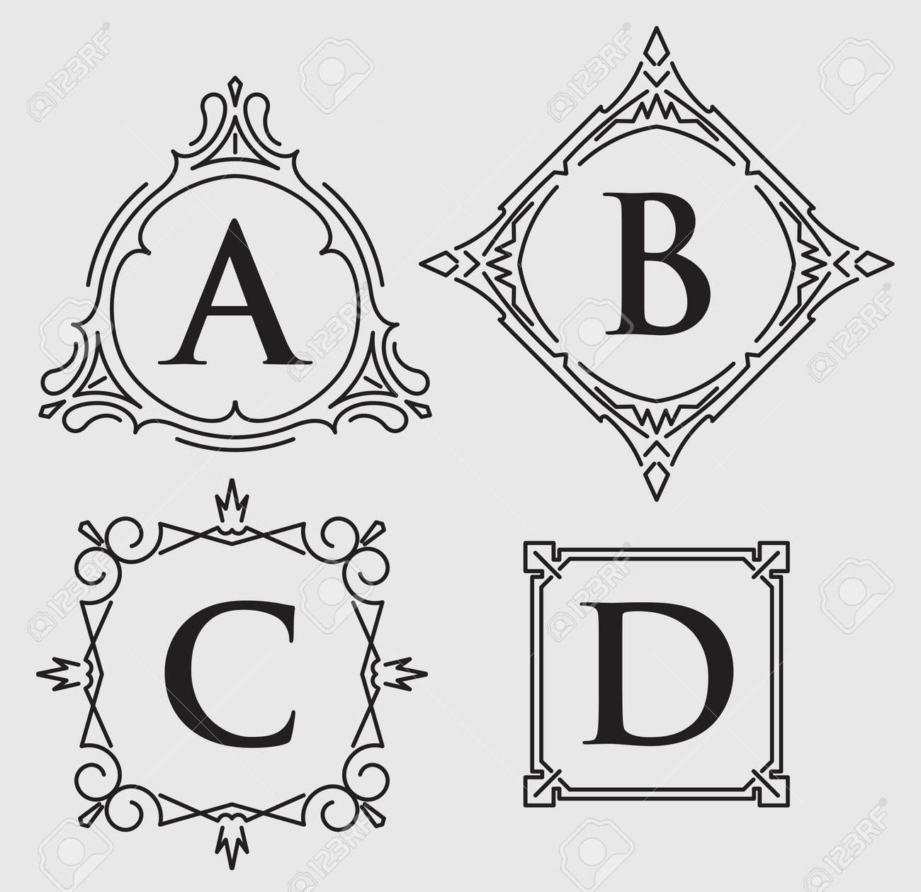 Set Of 4 Calligraphic Frames For Monogram Or Other Design With ...