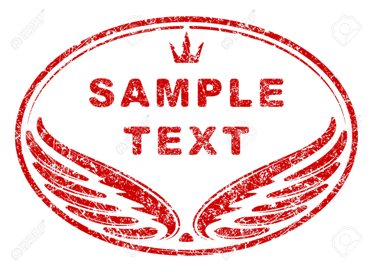 Red Oval Grunge Rubber Stamp Template With Wings And Crown An Space For Your Text