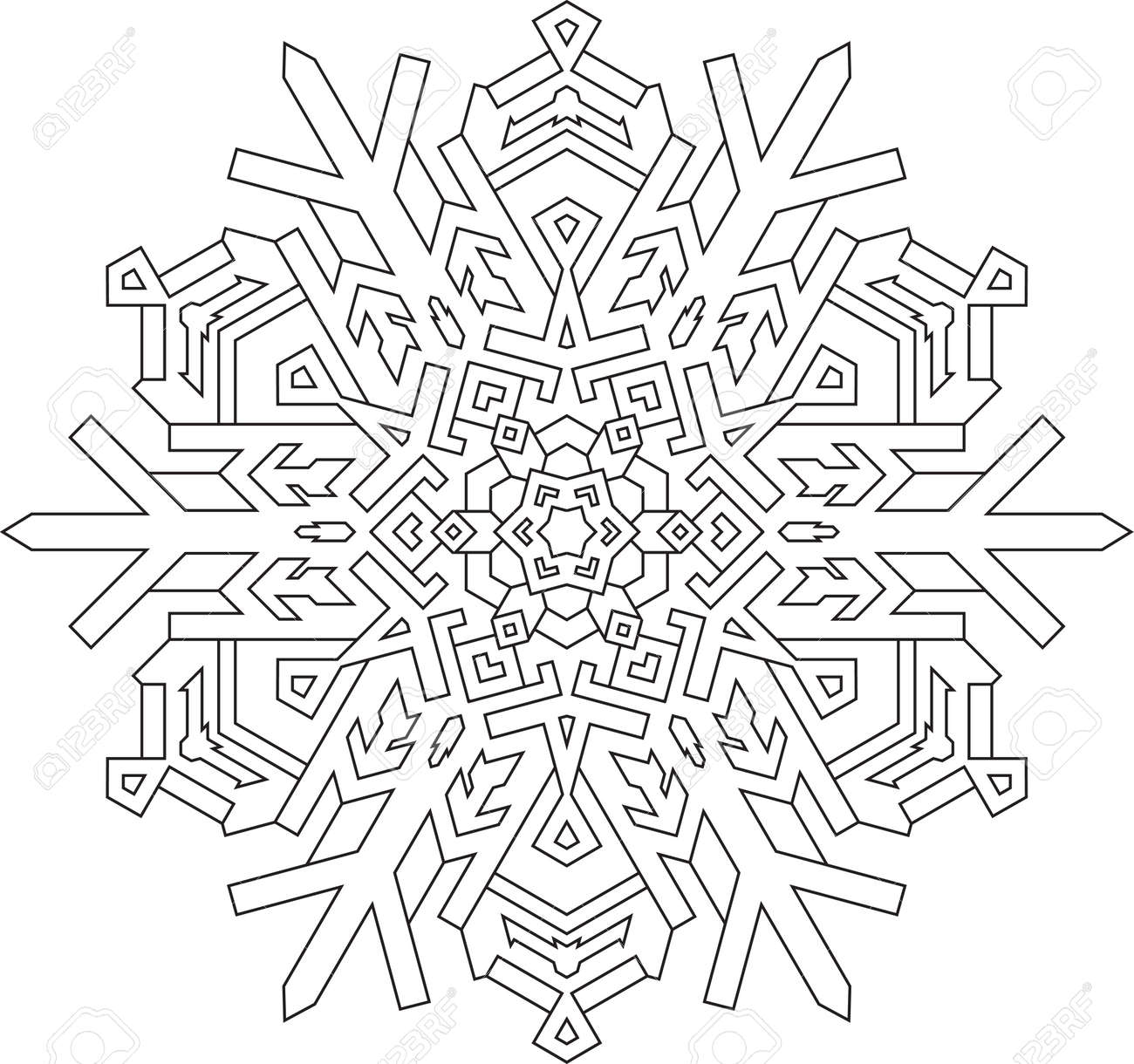 Contornos De Copo De Nieve En El Estilo De Línea Mono Para Colorear Libro Para Colorear Modelo Geométrico Del Vector