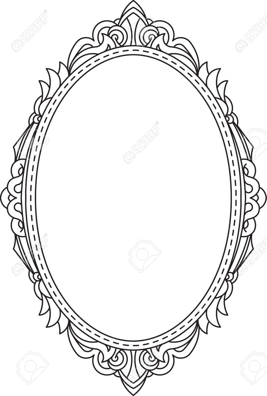 Antique Vintage Oval Frame With Blank Space For Text May Be