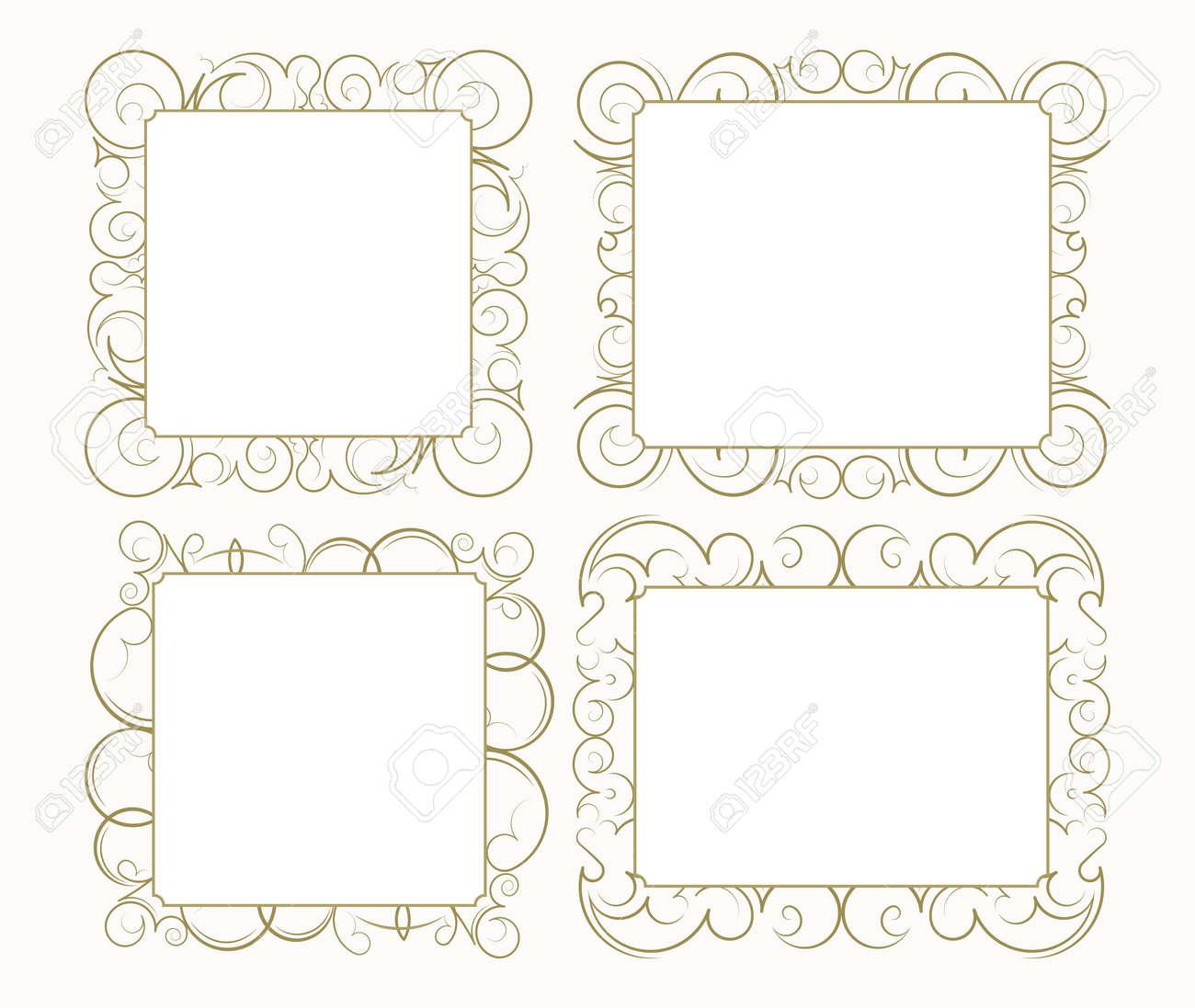 Conjunto De 4 Del Ornamento Del Cordón Decorativo, Marco De La ...
