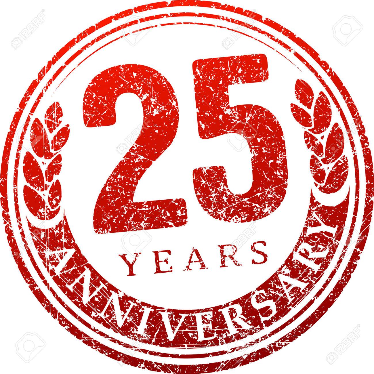 vintage anniversary 25 years round grunge round stamp retro