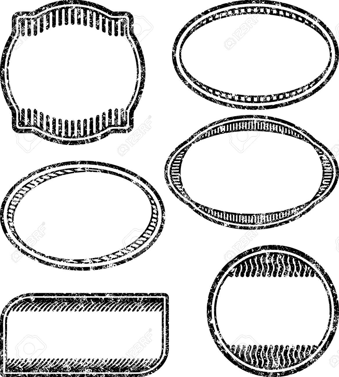 set of 6 grunge rubber stamps templates royalty free cliparts
