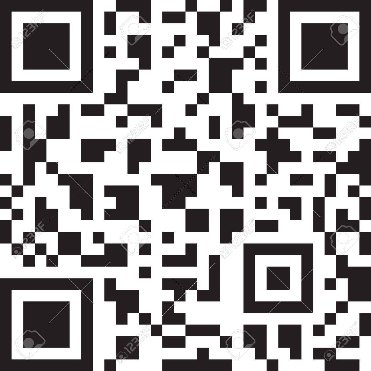 2D barcode  Black and white vector illustration