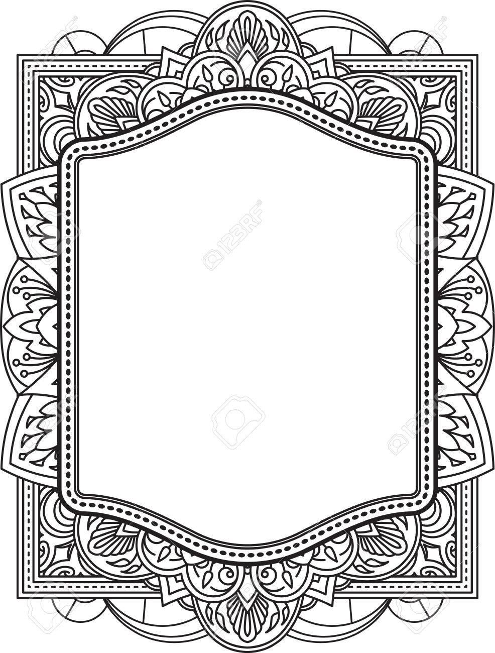 Ethnic template for design wedding invitations and greeting cards ethnic template for design wedding invitations and greeting cards henna flowers mehndi elements of vintage stopboris Images