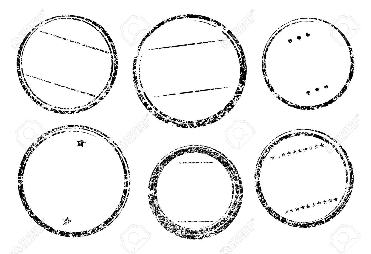 set of six grunge vector templates for rubber stamps royalty free