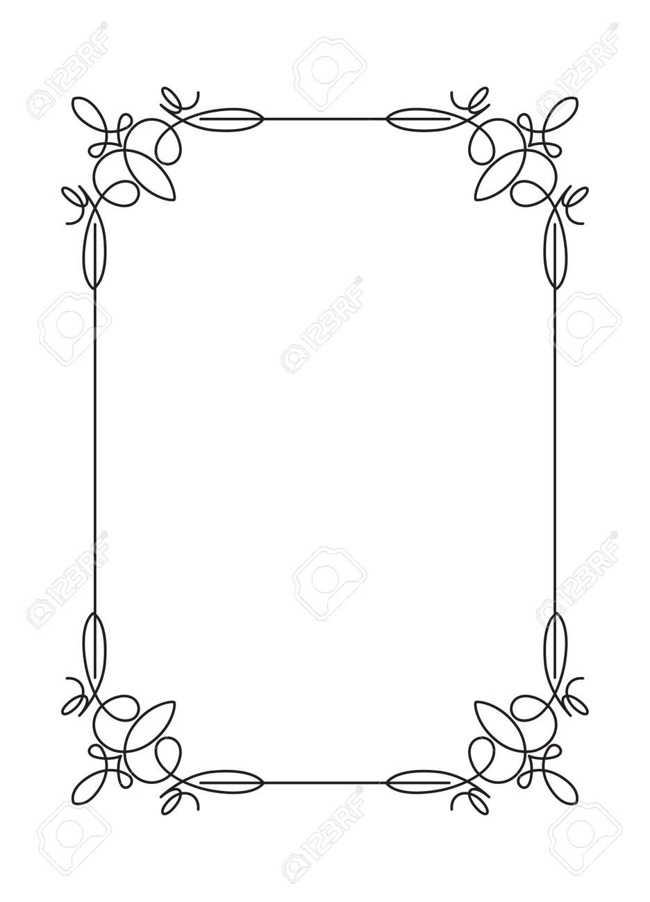 Classical Decorative Simple Calligraphic Frame In Mono Line Style Stock Vector