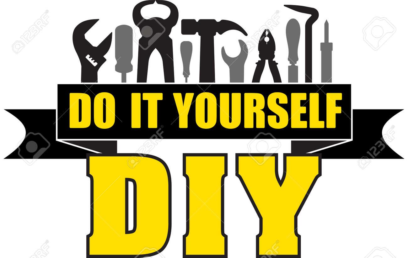 diy は それを行うあなた自身の労働者ツールのシルエットとバナー