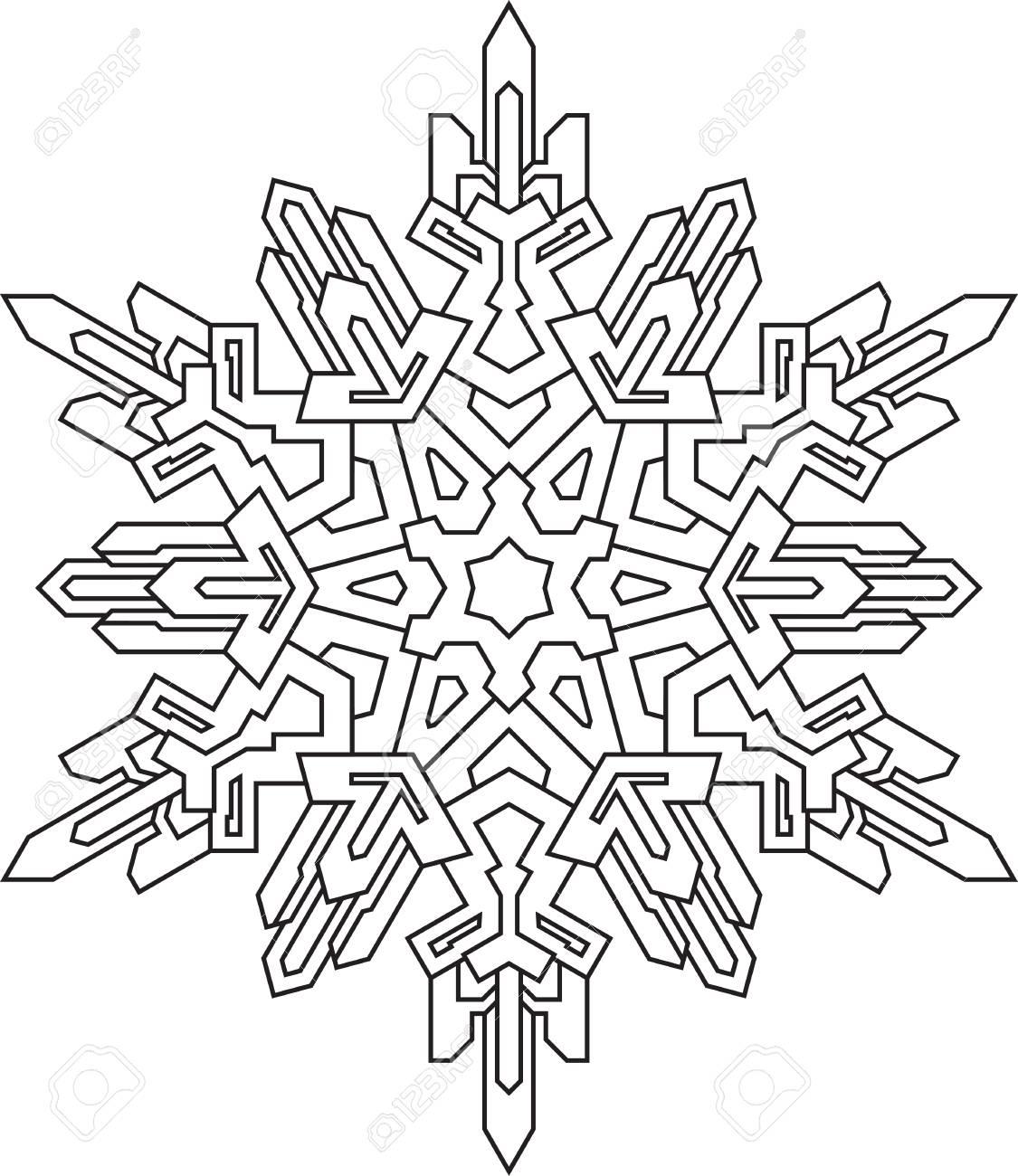 Contornos De Copo De Nieve En Estilo De Línea Mono Para Colorear Libro Para Colorear Patrón Geométrico De Vector