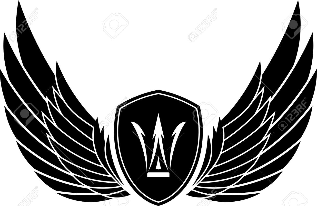 pair of stylish decorative vector wings with shields and crown rh 123rf com free vector wings clipart free vector bird wings
