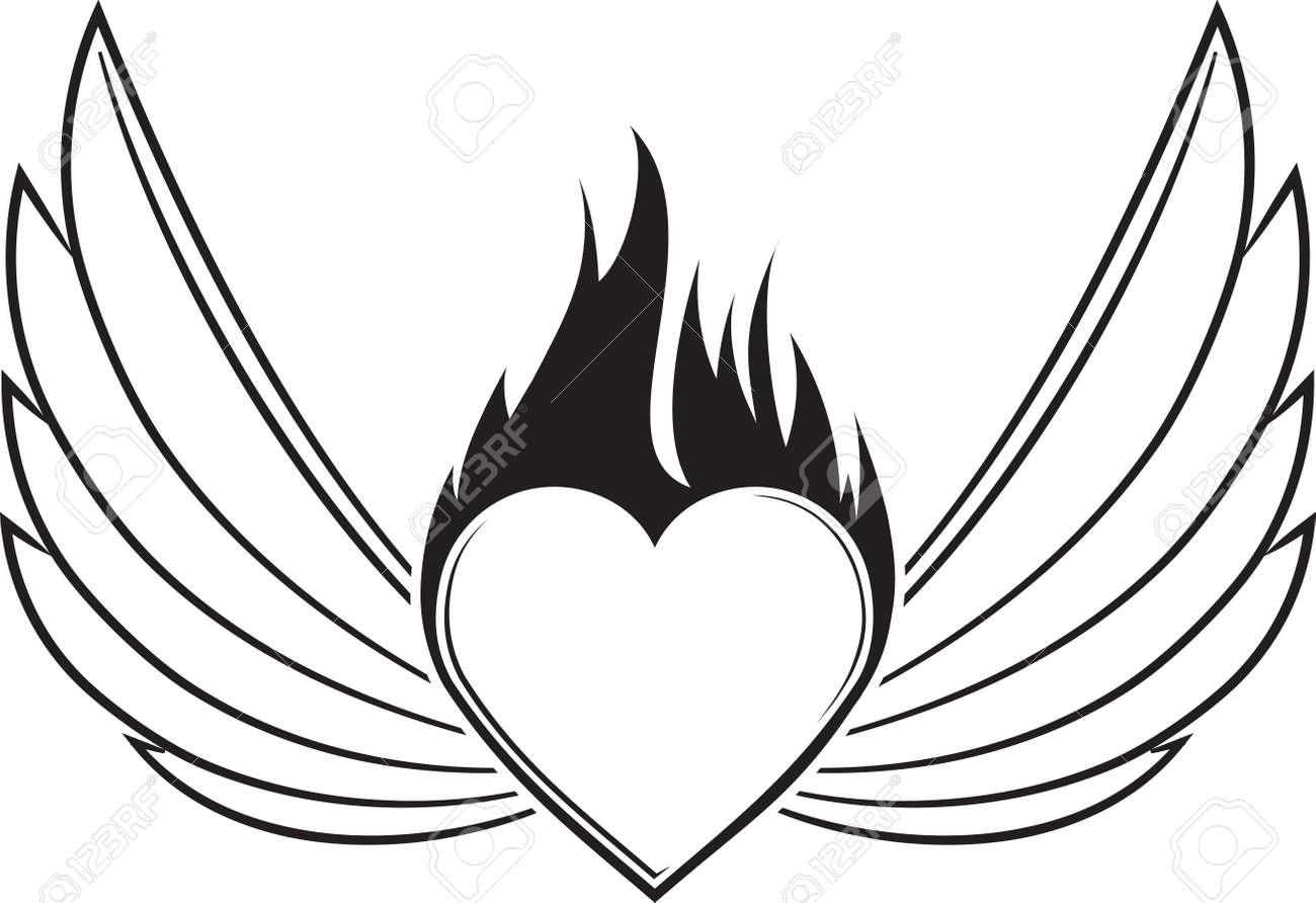 pair of outlined stroke black vector wings with heart and blazing rh 123rf com vector winston salem nc jobs vector winds kestrel eye