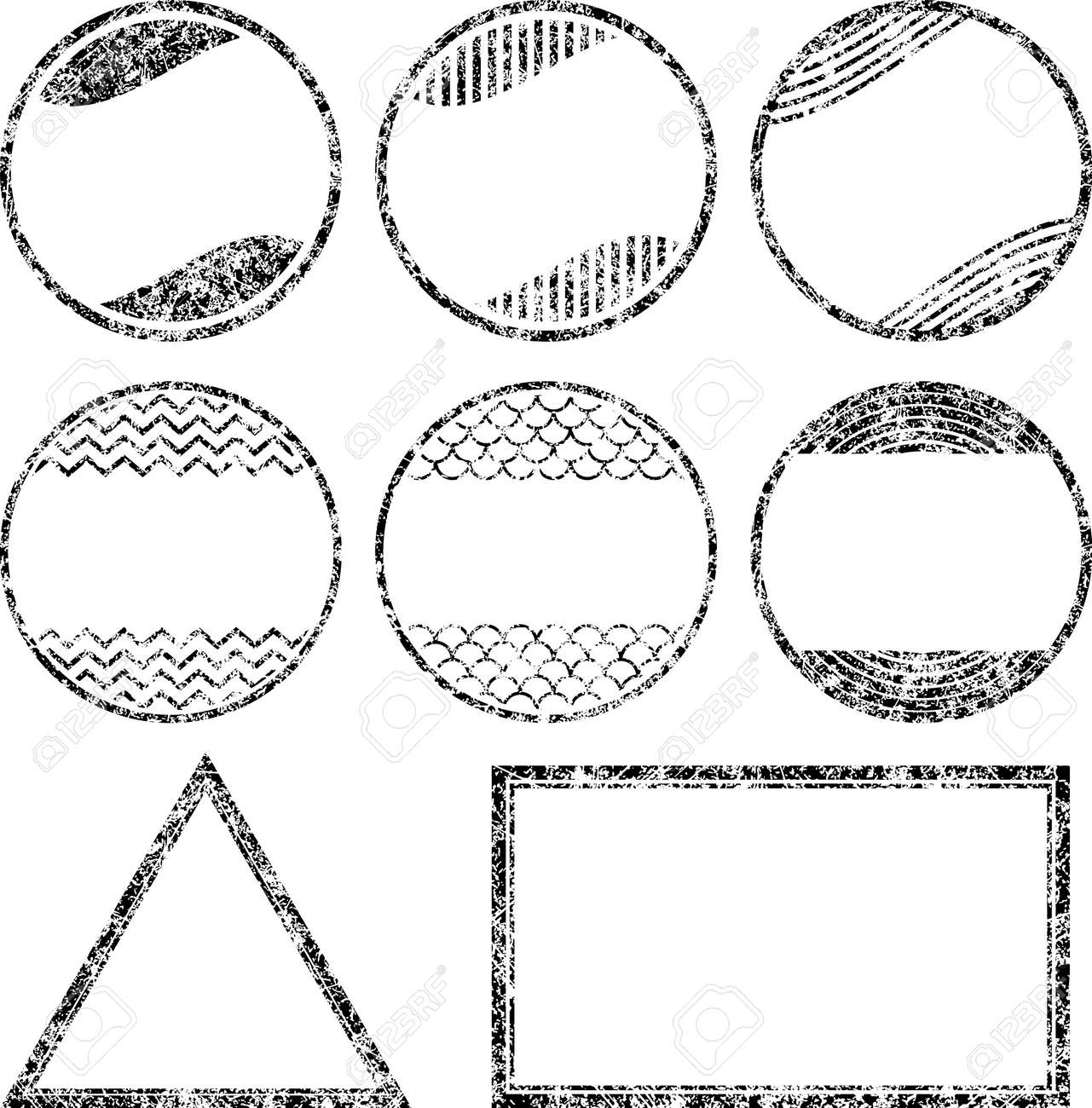 set of 8 grunge style rubber stamps templates royalty free cliparts