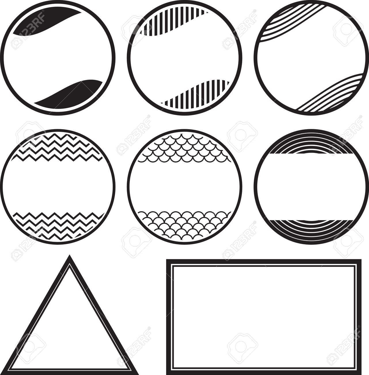 set of 8 solid style rubber stamps templates royalty free cliparts