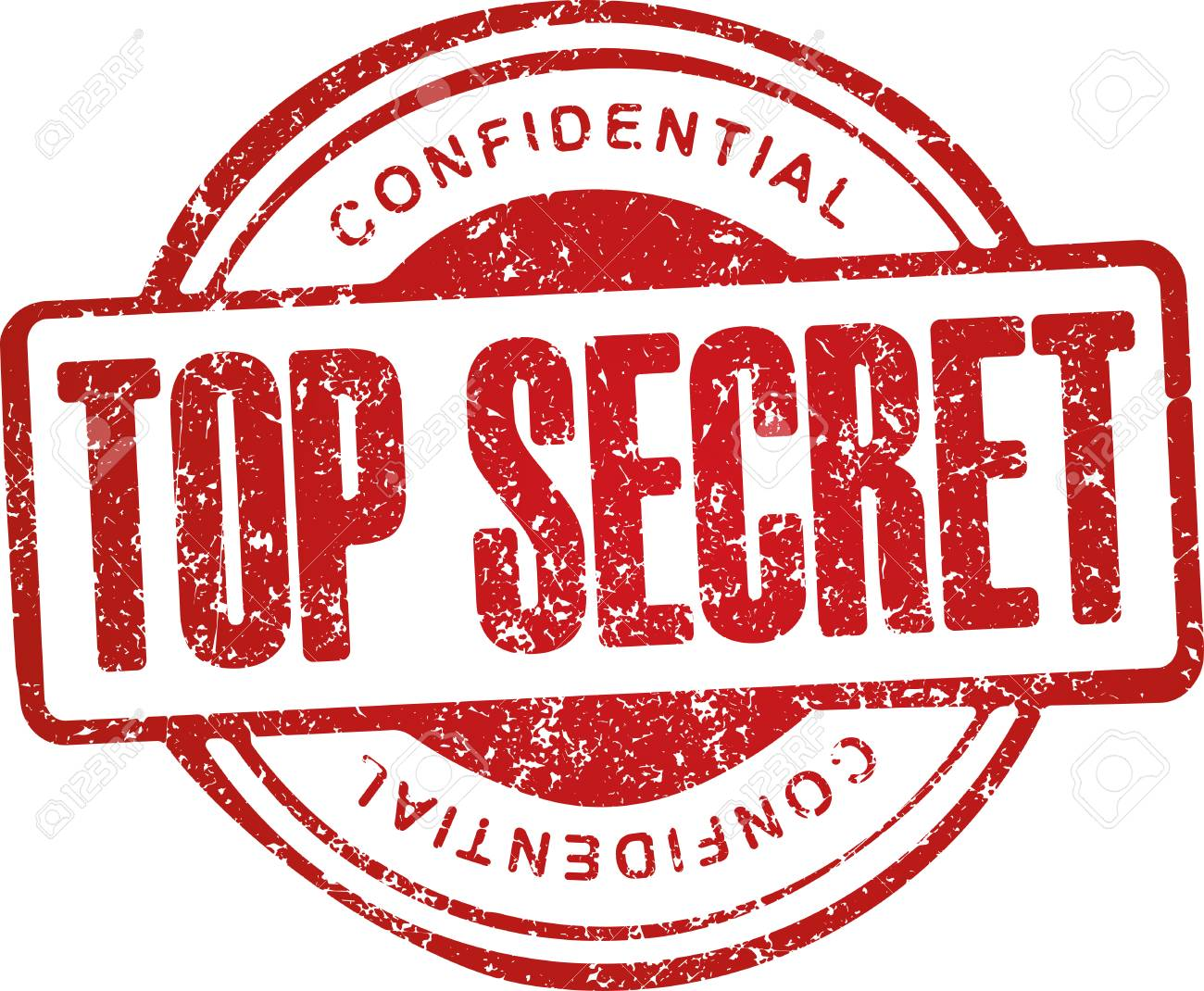 Top Secret Confidential Grunge Style Red Rubber Stamp Stock Vector