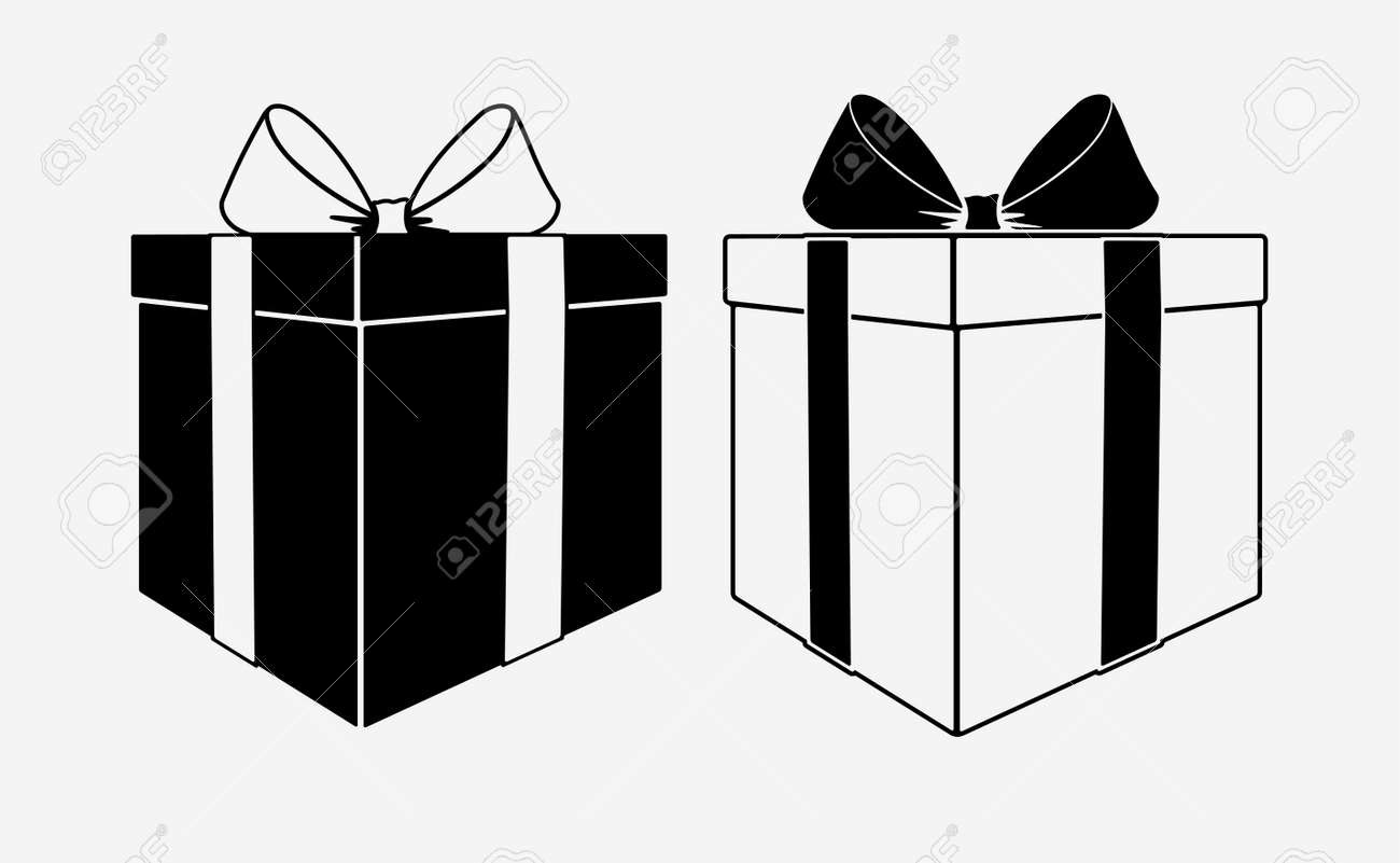 Pair Of Black And White Gift Boxes Icons With Bows Vector Illustration
