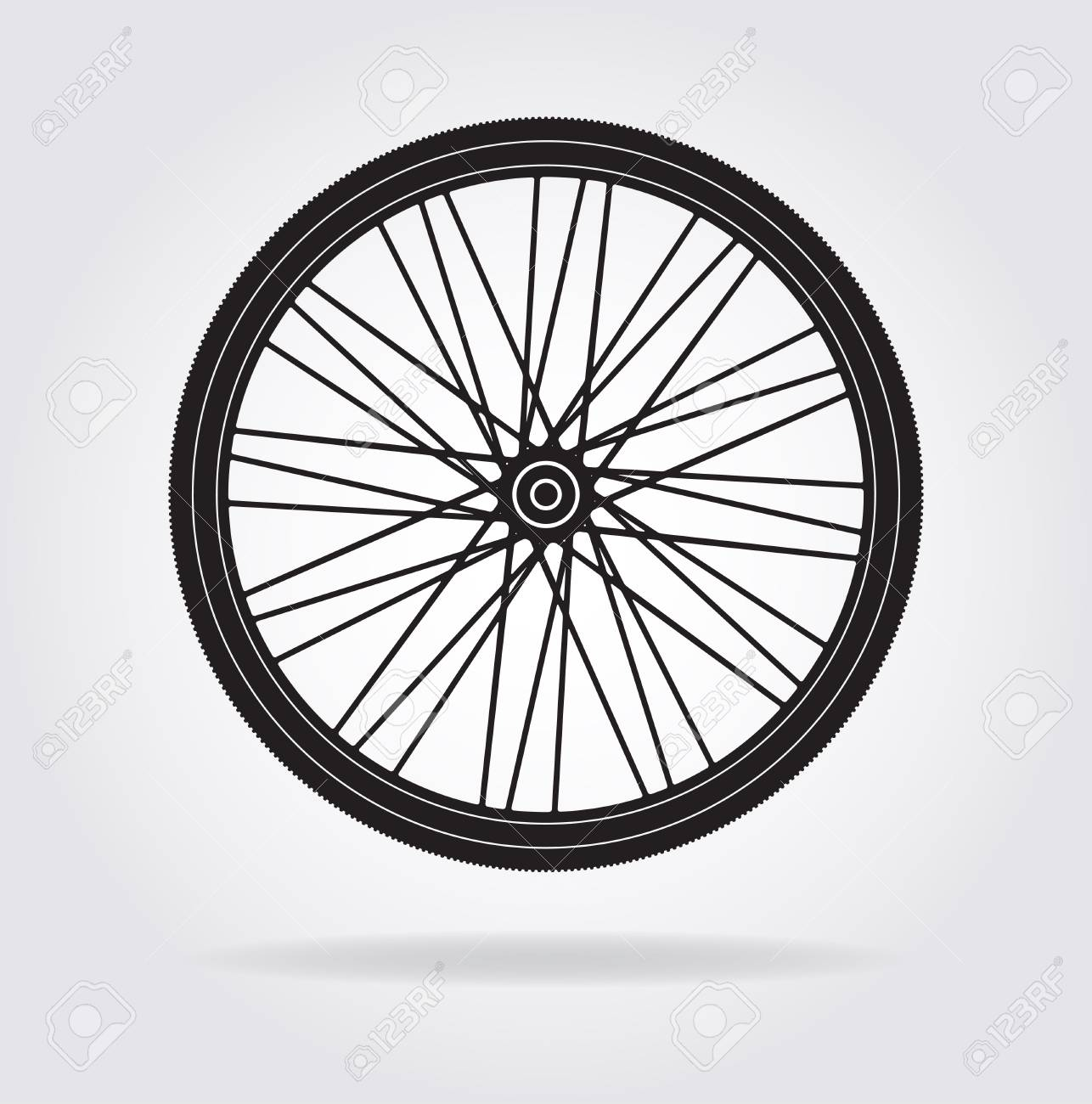 Flat Icon Of A Bike Bicycle Wheel Vector Silhouette For Your Royalty Free Cliparts Vectors And Stock Illustration Image 93144742