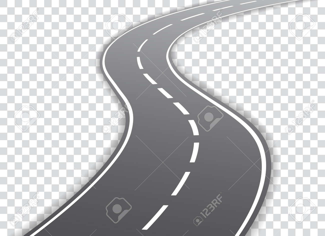 Vector winding road isolated on transparent background. Vector illustration. - 94712199