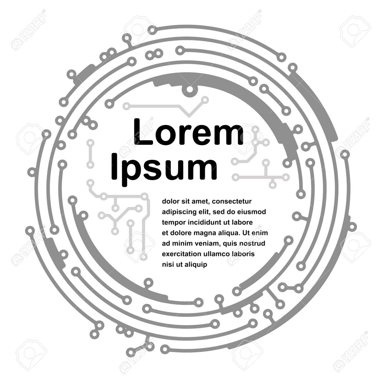 Round frame in PCB-layout style for your text or design
