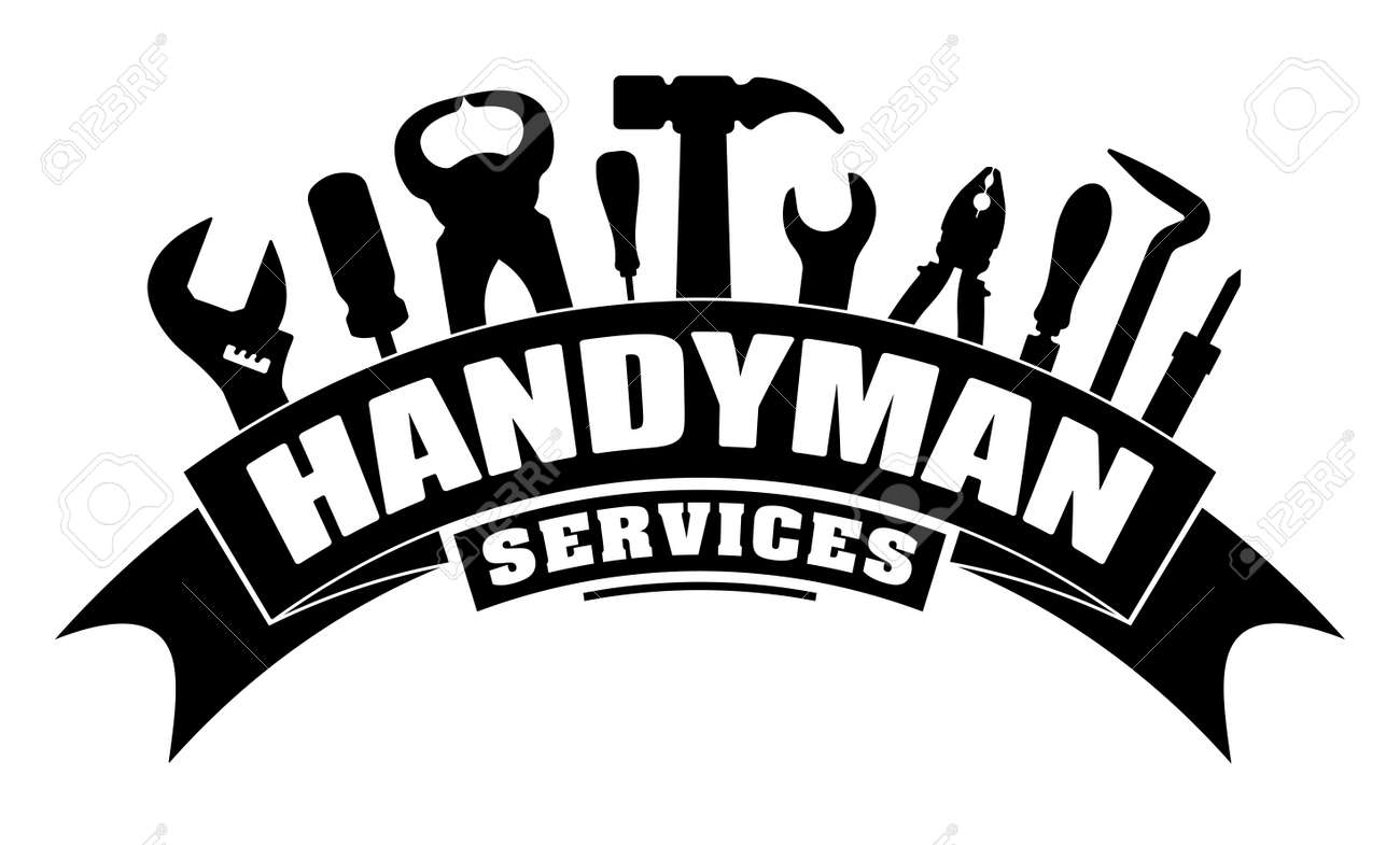 Handyman services vector design for your logo or emblem with bend banner and set of workers tools in black. There are wrench, screwdriver, hammer, pliers, soldering iron, scrap. - 99665854