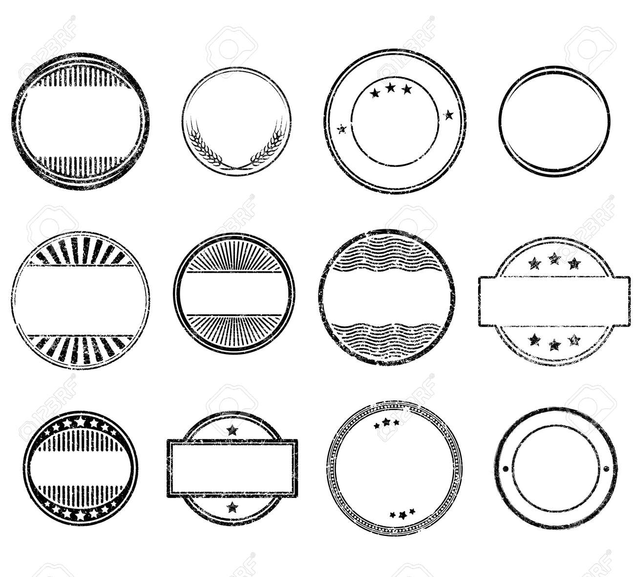 Set of circle grunge rubber stamps templates - 140289645