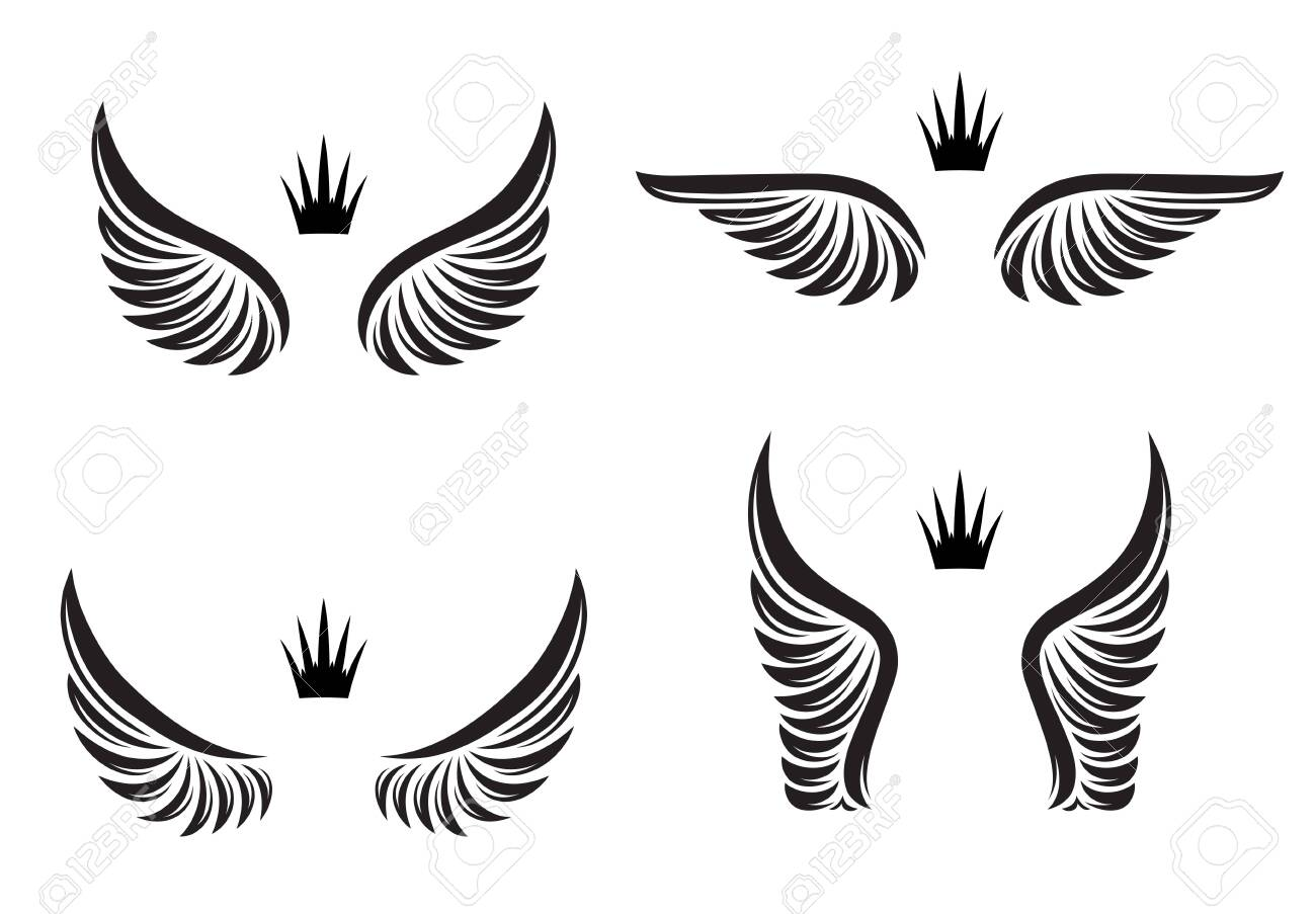 Set of four pairs of wings with crowns. Vector illustration. - 149820478