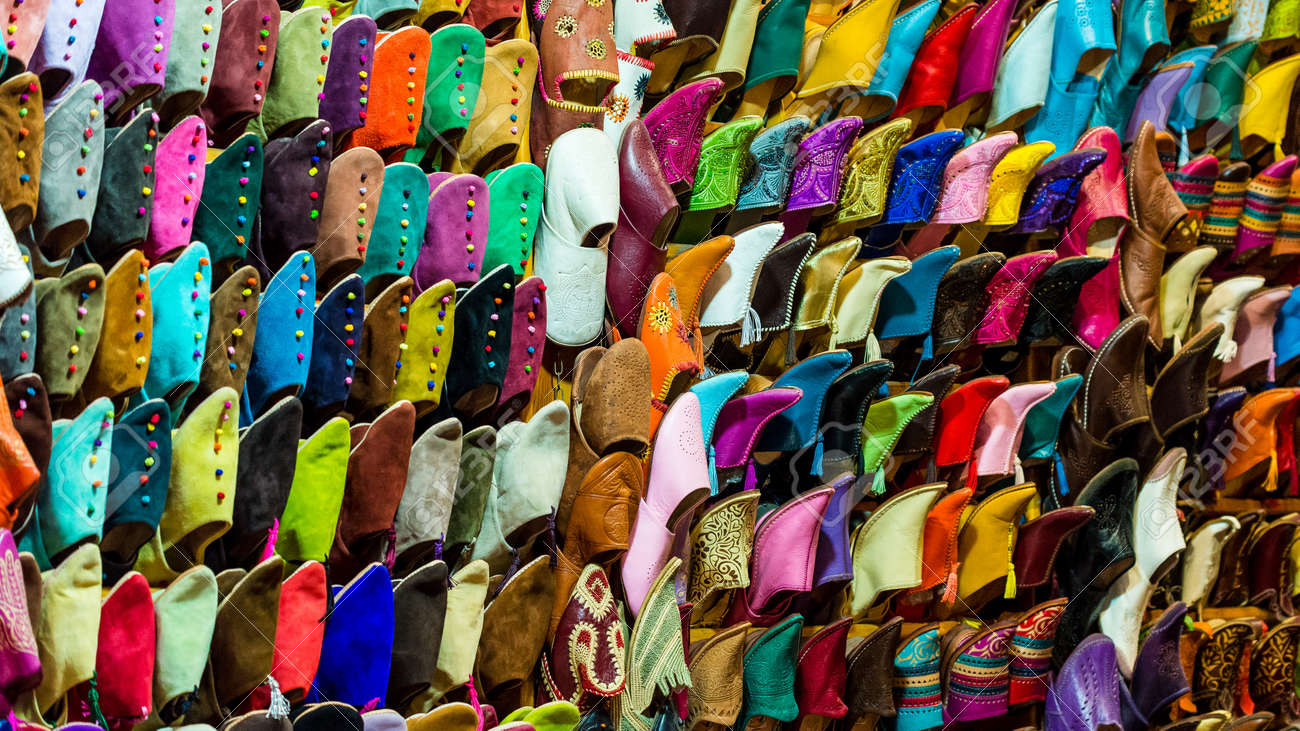 6b8b7145b82 variety of moroccan shoes Stock Photo - 47113064