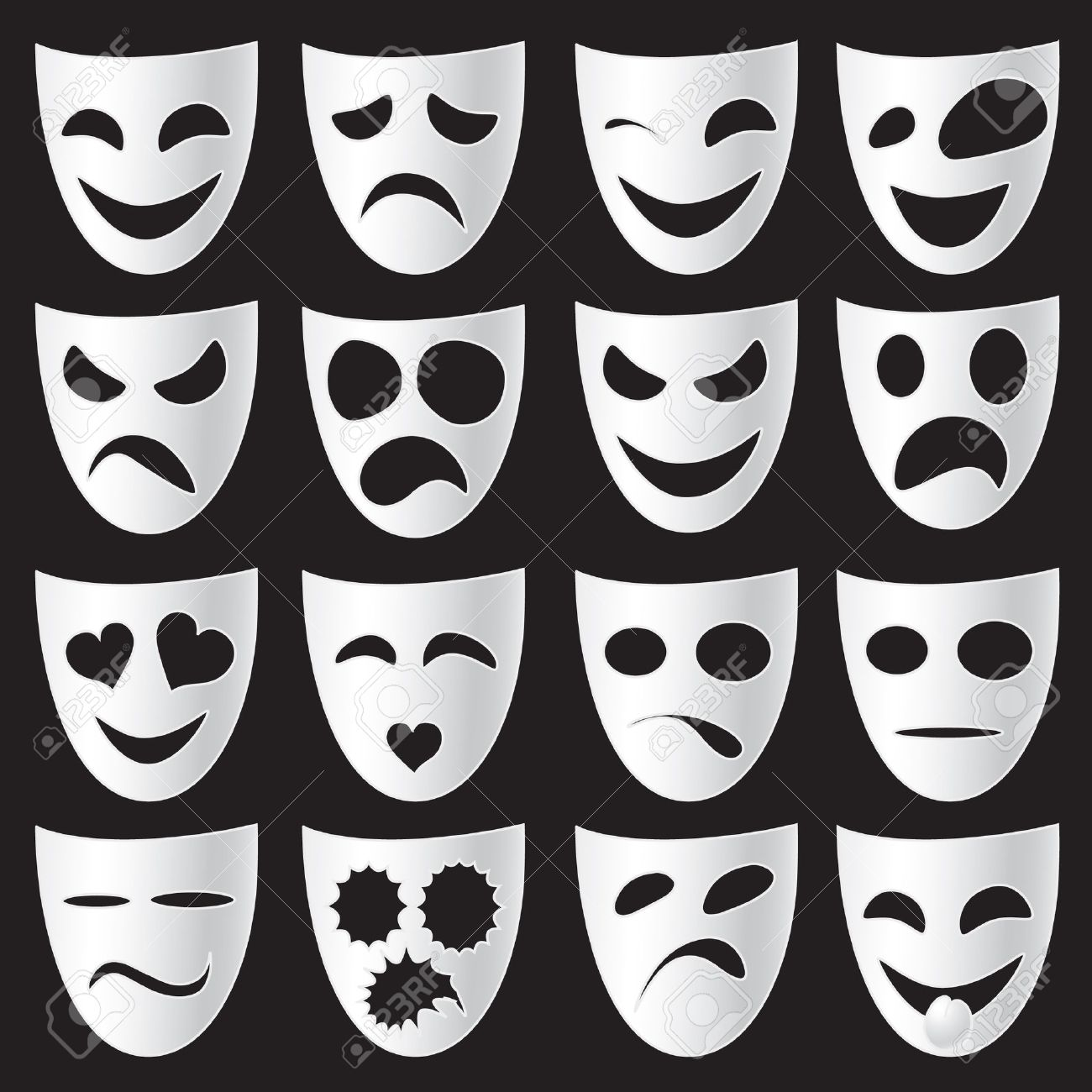 Isolated theatre masks expressing different emotions Stock Vector - 8312303