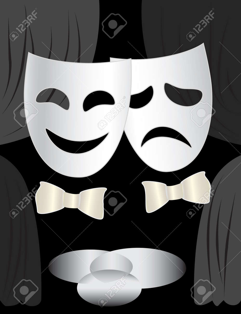 Black and white stage curtain - Black And White Background With Theatre Stage Curtains And Masks Stock Vector 8312304