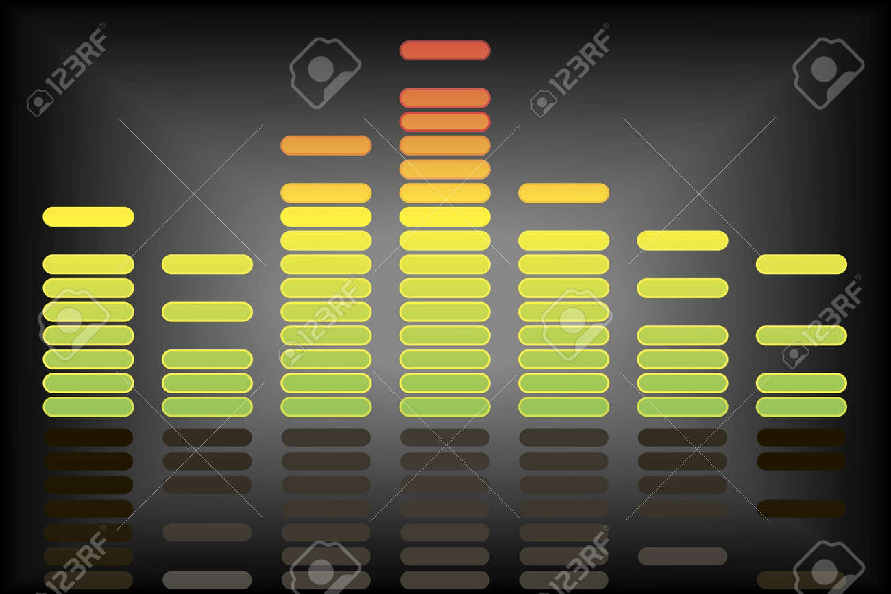 Abstract dynamic colorful equalizer background with reflection Stock Vector - 9922340