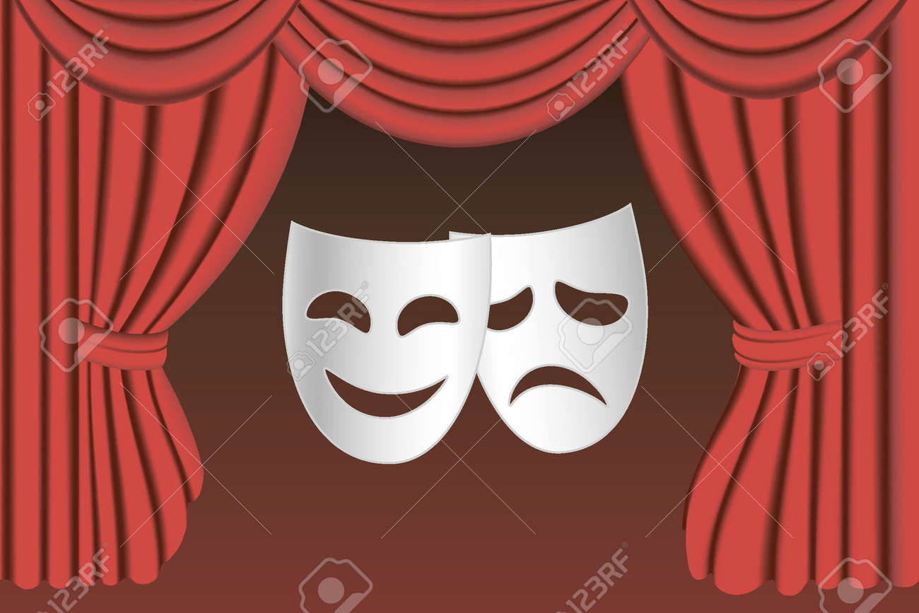 classical white theater masks and classical red theater curtains Stock Vector - 10040350