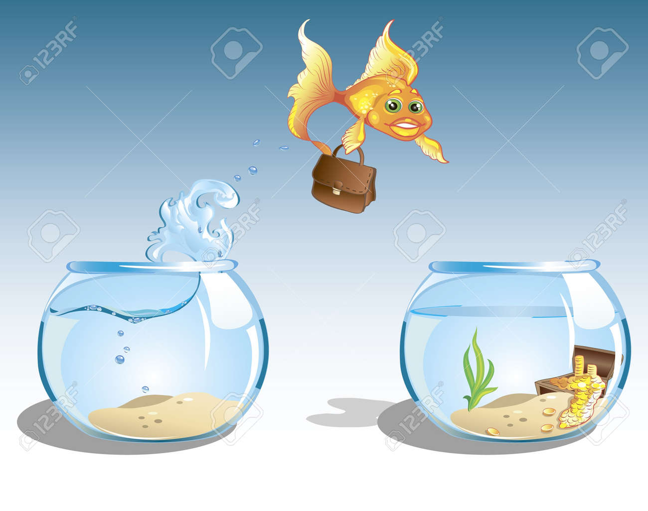 cute cartoon business goldfish with case jumping to other bowl with chest full of money Stock Vector - 10040351