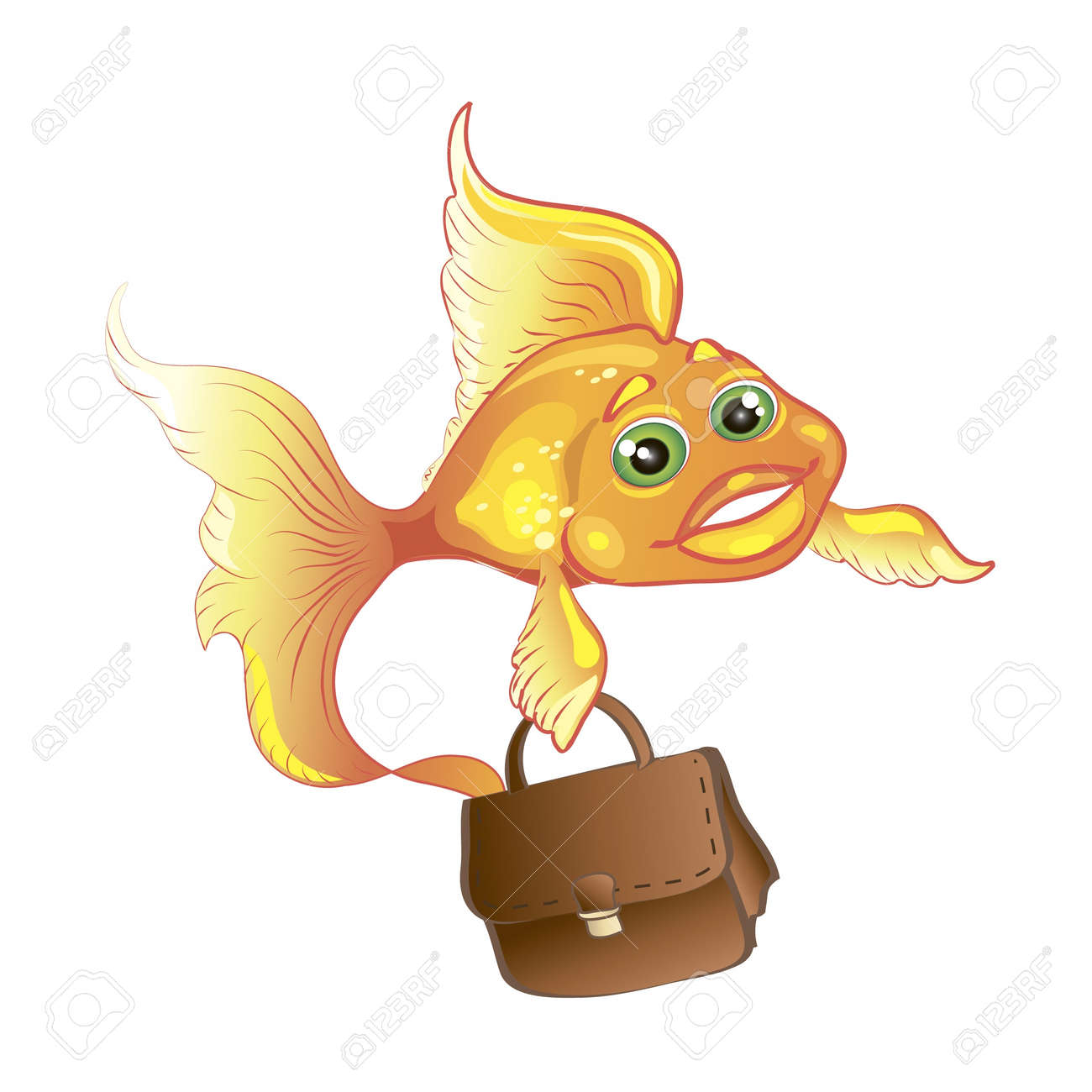 business goldfish with case isolated Stock Vector - 10040357