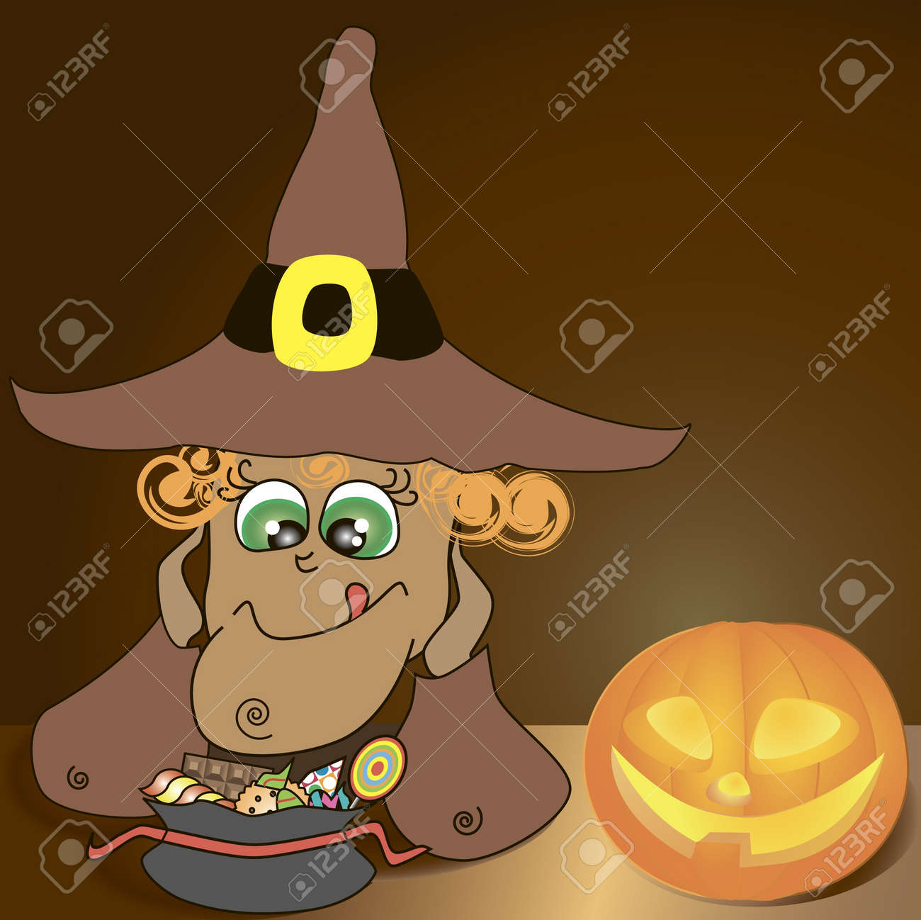 halloween background with illustration of funny witch looking forward her sweeties Stock Vector - 10040349