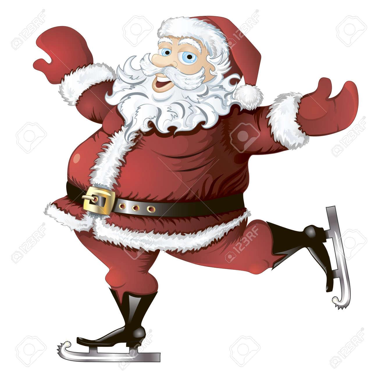 isolated cartoon illustration of skating Santa Claus - 10928325