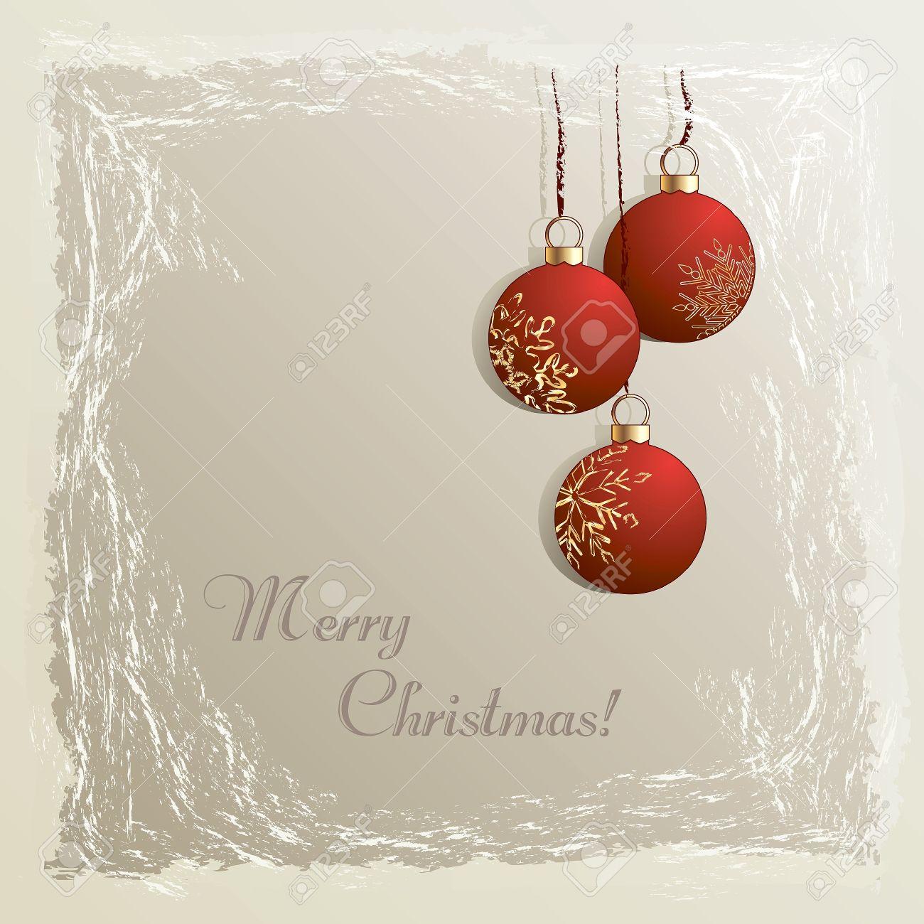 foto de archivo navidad cosecha de fondo con adornos colgantes de color rojo en el fotograma congelado