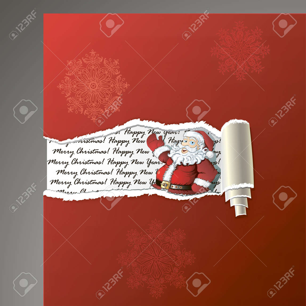 Teared paper background with Santa, hand drawing decorative snowflakes Stock Vector - 11541488