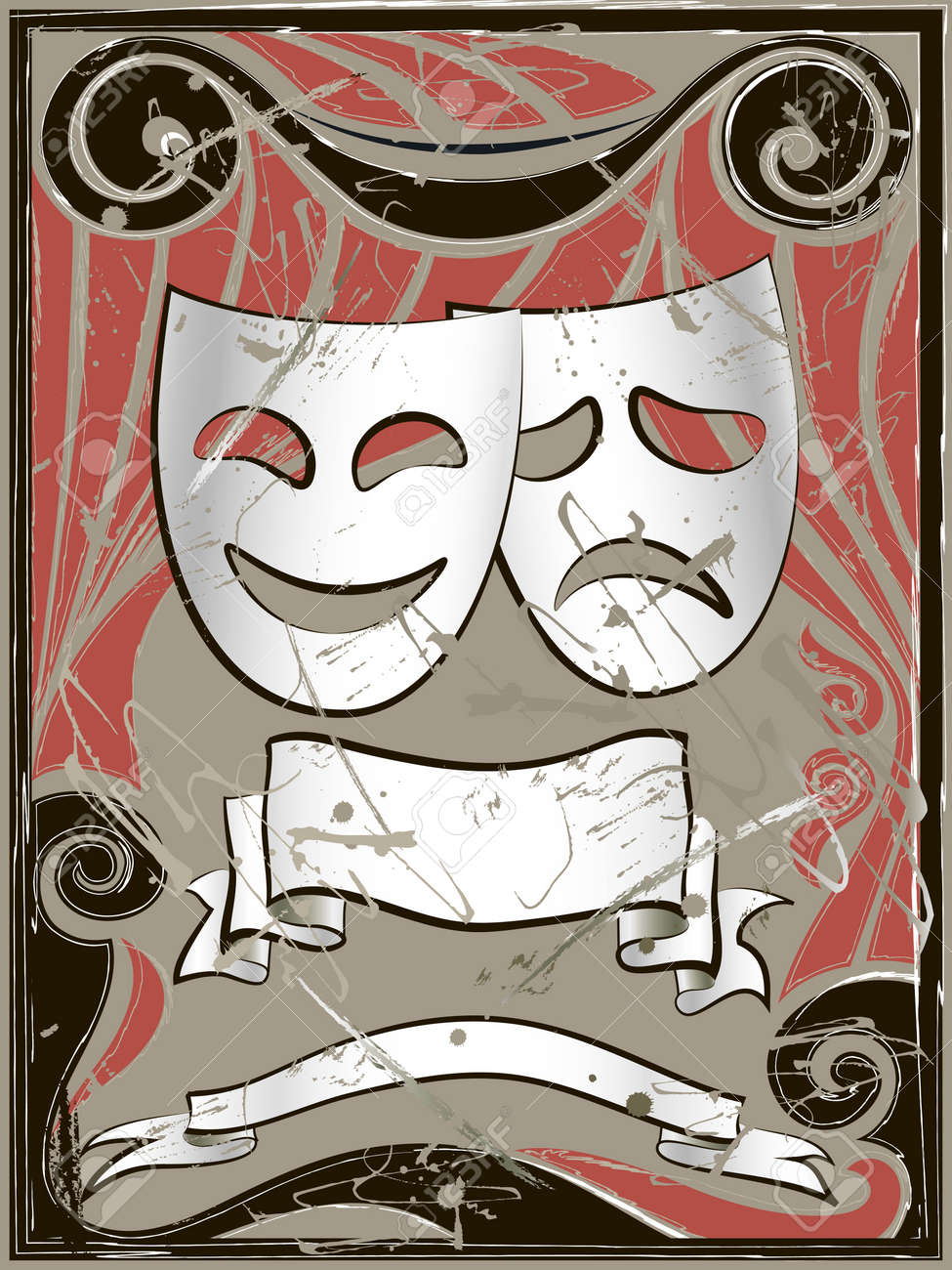 Abstract vintage background with theater masks and banners Stock Vector - 11541486