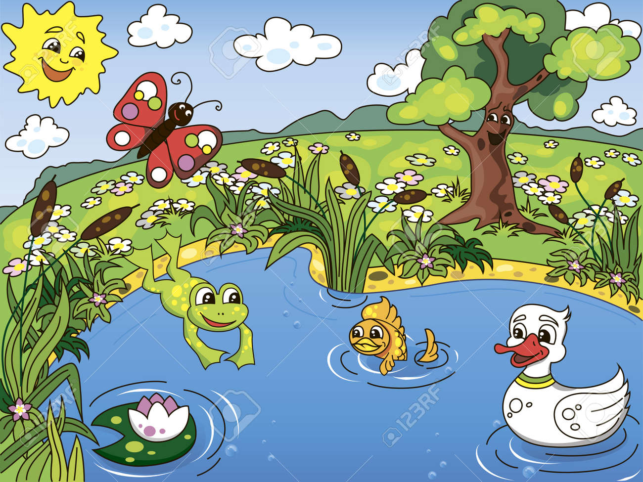 Cartoon kid s illustration of the pond life with a frog, fish, duck, butterfly and lotus Stock Vector - 12820550