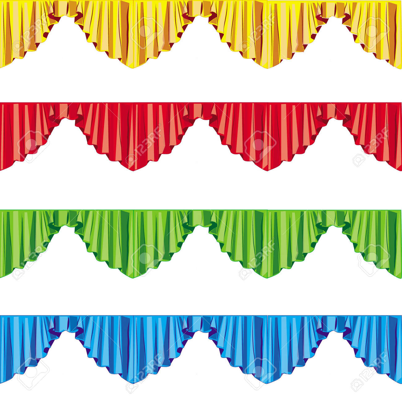 curtain drapes lambrican color, isolated on white background Stock Vector - 14807278