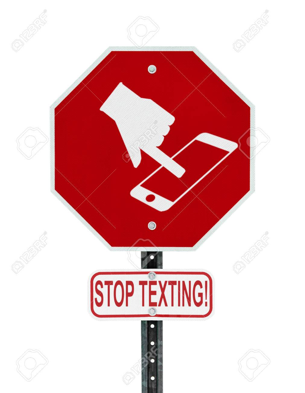 A red stop sign with a symbol of a hand texting on handheld a red stop sign with a symbol of a hand texting on handheld smartphone device and buycottarizona Images